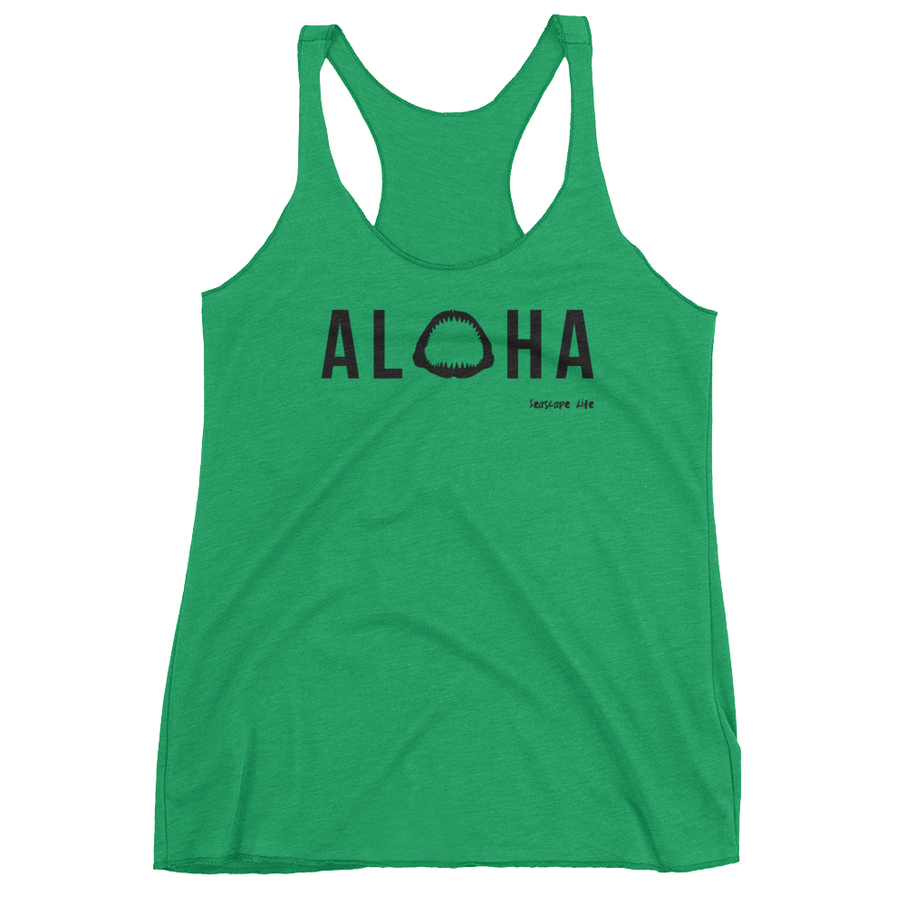 Aloha with Shark Jaws Womens Racerback Tank Top - Seascape Life