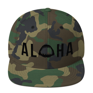 Aloha with Shark Jaws Camouflage Snapback Hat Black Logo - Seascape Life