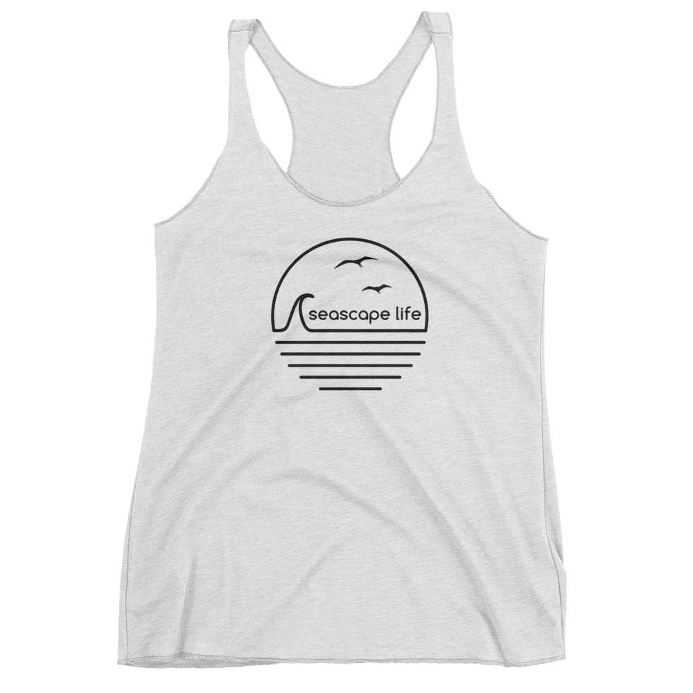 Retro Seascape Life Womens Racerback Tank Top - Seascape Life