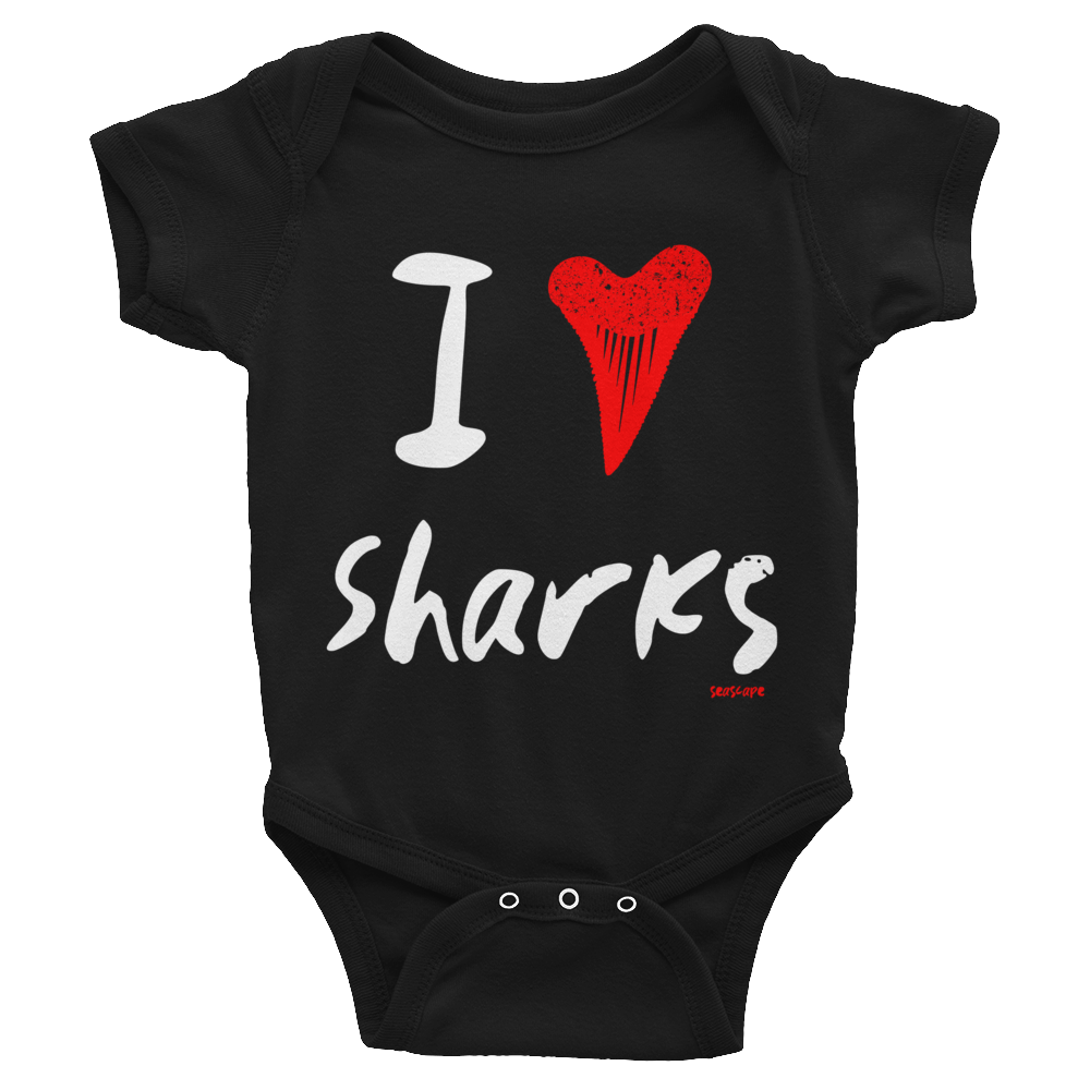 I Heart / Tooth Sharks Infant Onesie - Seascape Life