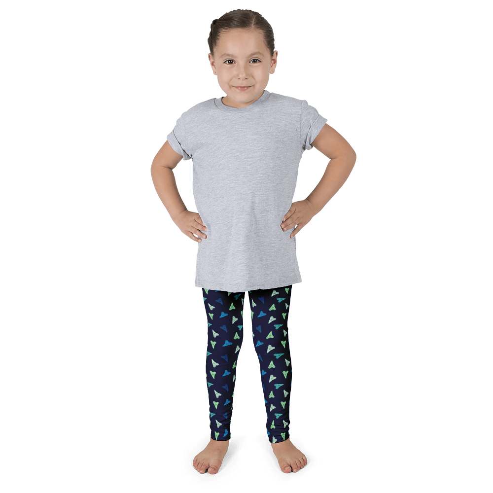 Shark Teeth / Hearts Kid's Leggings - Seascape Life