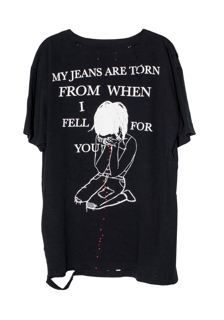 MY JEANS ARE TORN TEE | BLACK