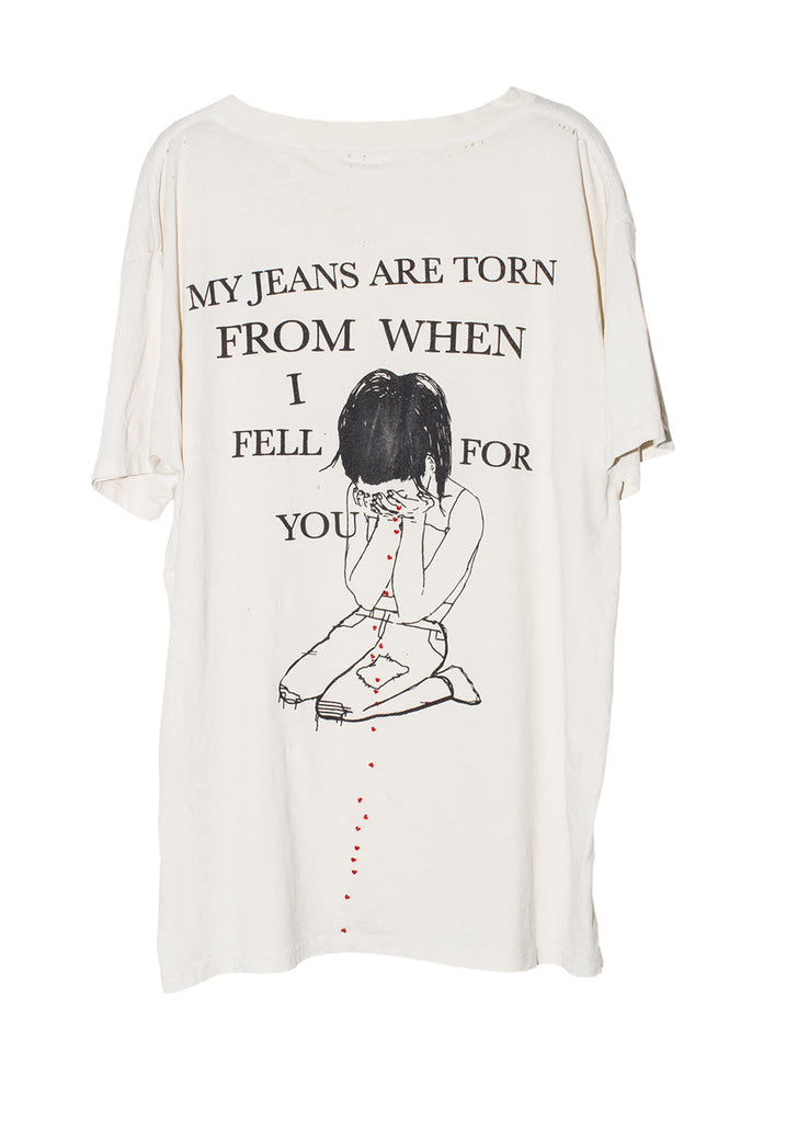 MY JEANS ARE TORN TEE | WHITE