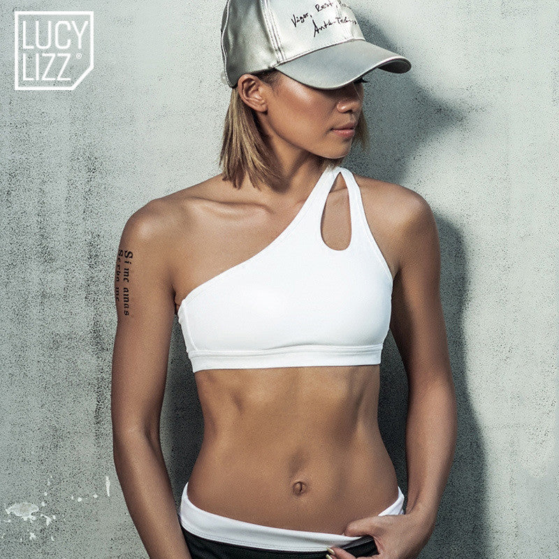 b1c0d4f9af530 2017 Sexy One Shoulder Solid Sports Bra Women Fitness Yoga Bras Gym Padded  Sport Top Athletic Underwear Workout Running Clothing