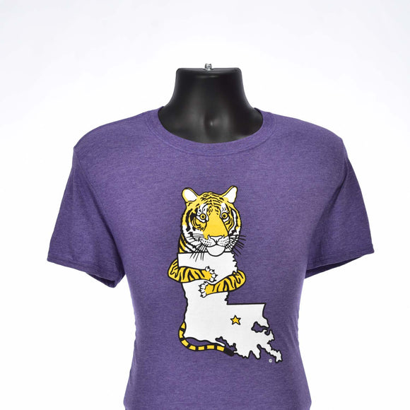 tiger tees, Louisiana football cotton/poly purple