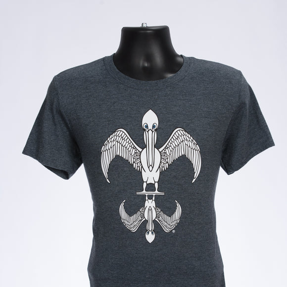 pelican tees, cotton/poly heather gray
