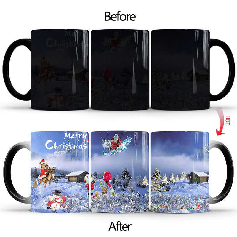 Merry Christmas Magic Mug Temperature Color Changing Mugs Heat Sensitive Cup Coffee Tea Milk Mug Novelty Gifts for Kids