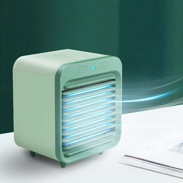 Home Mini Air Conditioner Portable Air Cooler Fan Air Conditioner Light Desktop Air Cooling Fan USB Personal Space Cooler