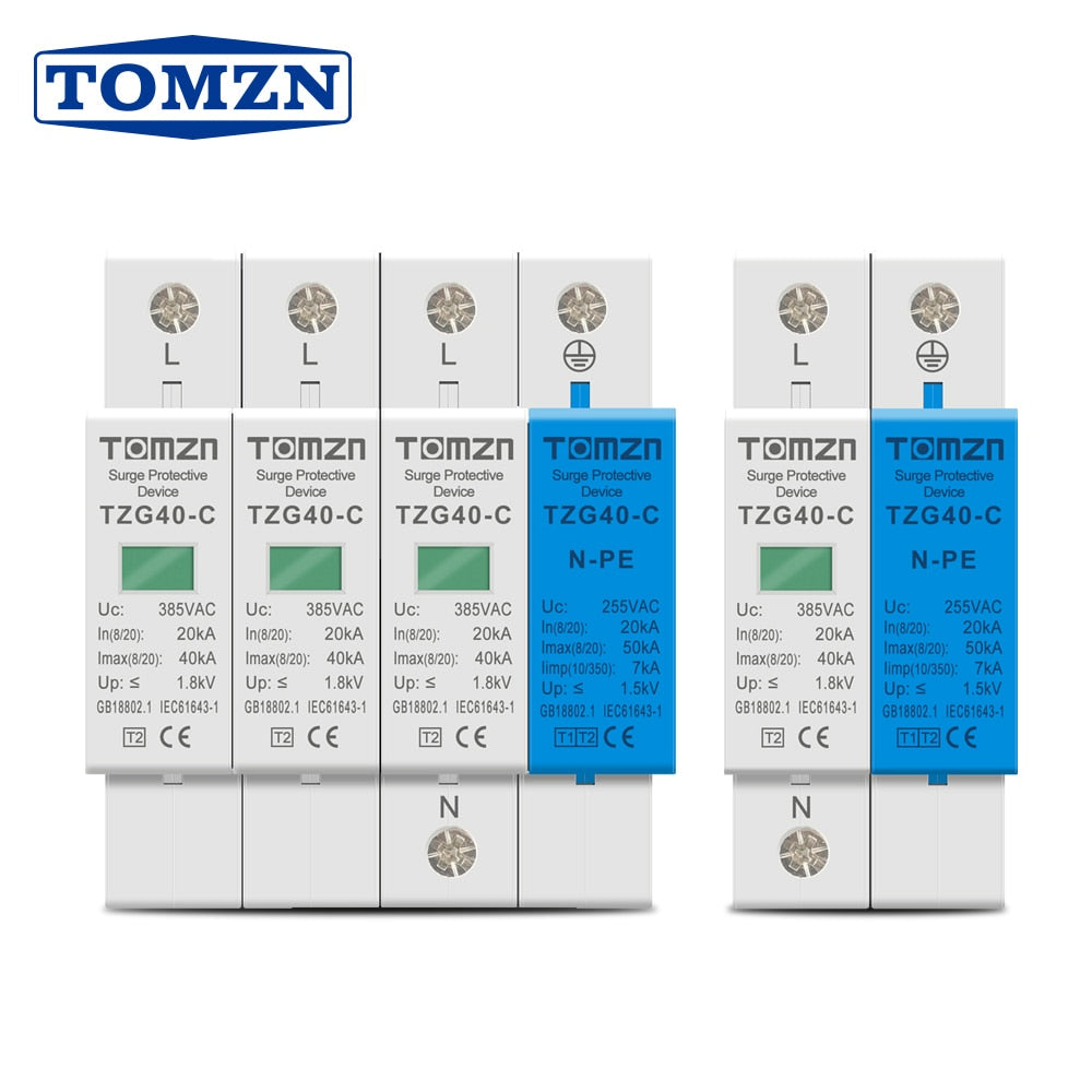 AC SPD Din rail 1P+NPE 3P+NPE 50KA T1 T2 385V 255V  House holde Surge Protector Protective Low-voltage  Arrester Device