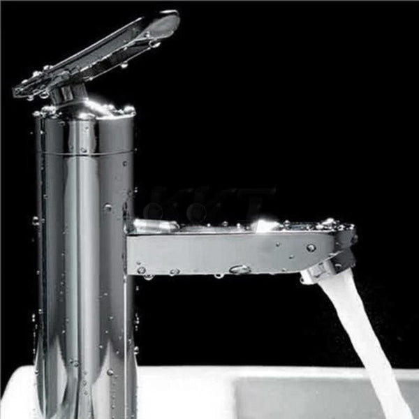 Brushed Chrome Waterfall Bathroom Basin Faucet Single Handle Sink Mixer Tap New YKS Worldwide Store