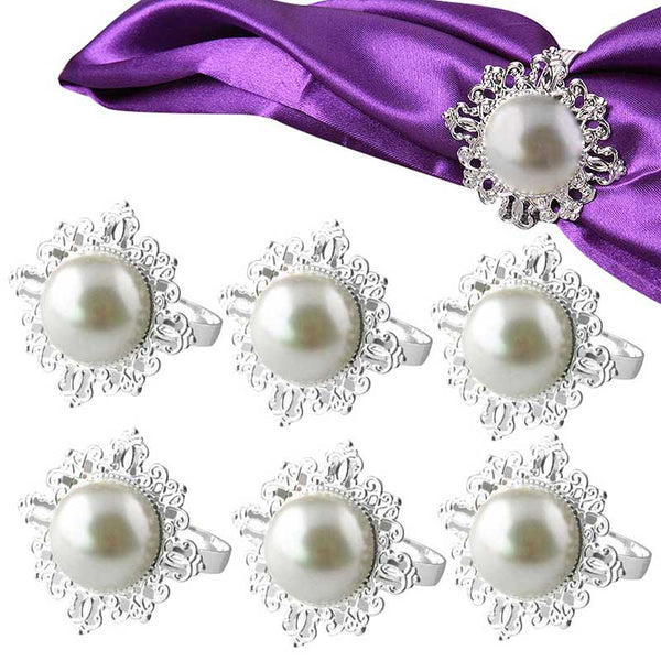6pcs Pearl Napkin Rings Luxury Rhinestone Napkin Rings for Weddings Party Decorations Table Decoration Accessories  E2S