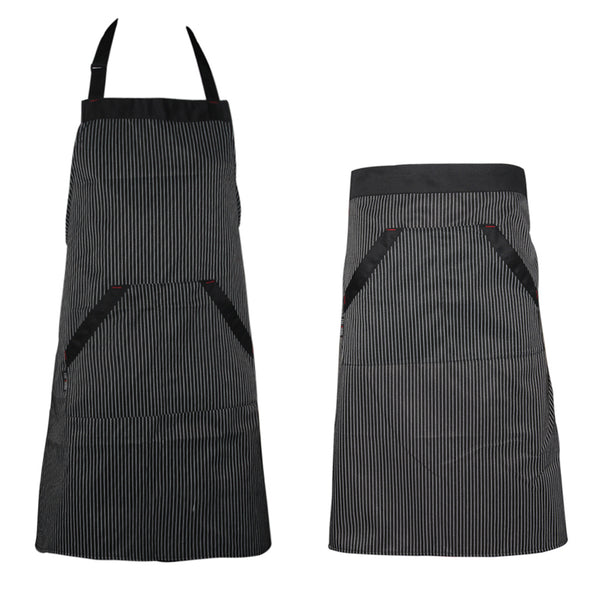 2 types  Universal Unisex Stripe Bib Apron with Pockets adjustable Hang Neck Chef Cook Tool Coffee  kitchen Apron