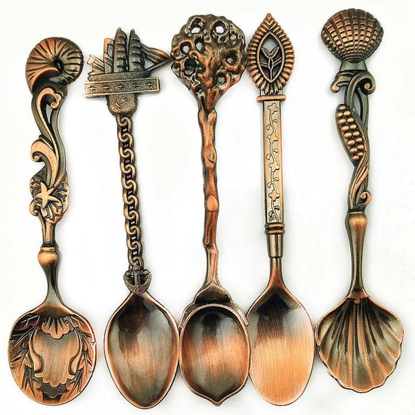 5 Pcs Spoons Tridimensional Solid Color Carved Alloy Flatware Vintage Royal Style Coffee Spoon Cutlery Kitchen Tools E2S