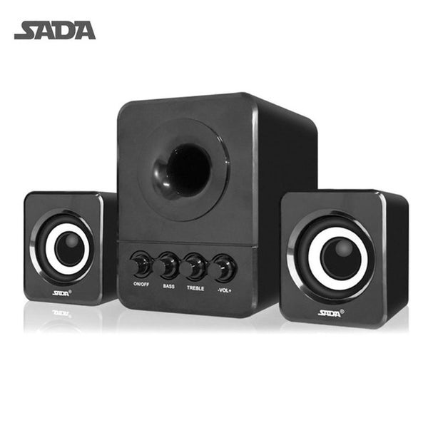 SADA Wired Mini USB Super Bass Subwoofer Speaker 2.1 3 Channel Computer Speakers With USB 3.5mm connector For mp3 Cellphone