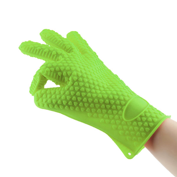4 Colors Heat Resistant Silicone Glove Cooking Baking BBQ Oven Pot Holder Mitt Kitchen Silicone Glove Tools Supplies New Arrival