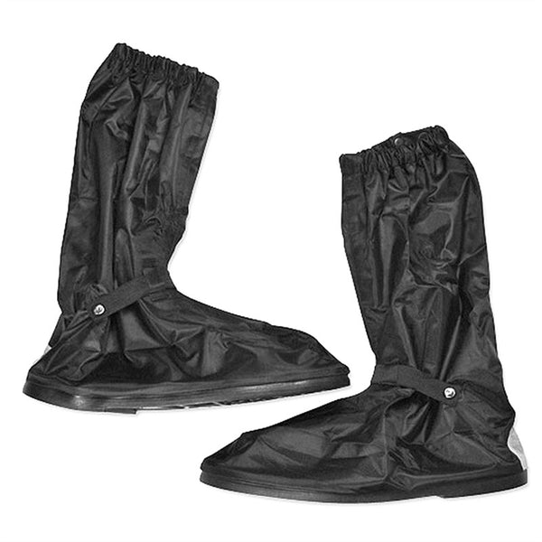 Pair of Men's Zippered Non-slip Thick Rubber Sole Rainproof High-top Overshoes Shoe Covers - Size XL