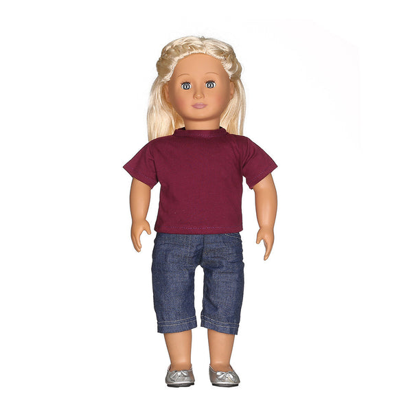 Casual T-shirt Jeans Pants Fit For 18 inch Our Generation American Girl Doll