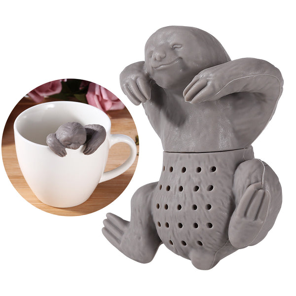 OUNONA Silicone Sloth Tea Infuser Creative Tea Bag Filter Strainer for Coffee Herb Punch