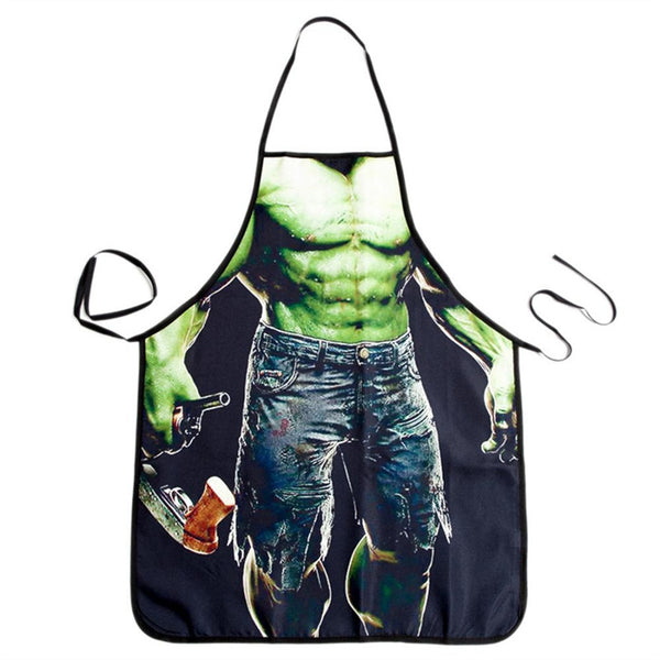 Novelty Cooking Kitchen Apron Green Giant Man Printed Apron Cooking Grilling BBQ Apron
