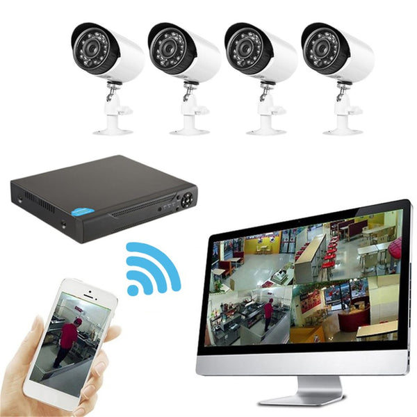 4 Channels 1.0MP Coaxial Cameras + High Definition Network Hybrid Digital Smart Video Recorder CCTV Surveillance DIY Kit
