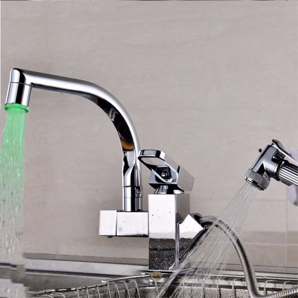 Xueqin High End Looking Light Temperature Sensor Kitchen Bathroom  Basin Faucet Accessorie Color Cold Hot Water Glow LED Faucet