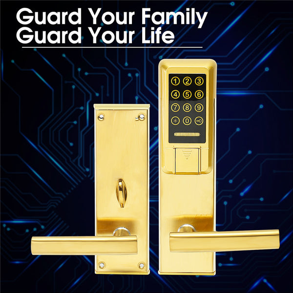 Electronic Digital Smart Password Door Lock Silver/Gold Keypad Touch Screen With RFID Card Wear-resistingsafe  50 Set Password