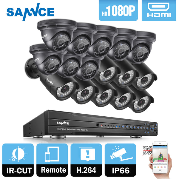 SANNCE 16CH 2MP 1080P Full HD CCTV System HDMI DVR 8PCS bullet 8PCS Dome Home Video Security Cameras Surveillance System 2TB HDD