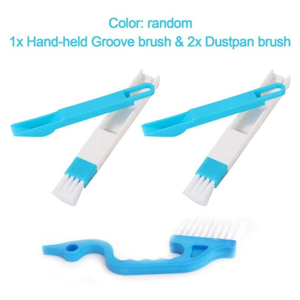 Window Track Cleaning Brushes Set Hand-held Groove Gap Brush 2-in-1 Small Brush with Dustpan Household Cleaning Tools NEW