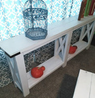 white distressed sofa table