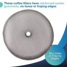 "Load image into Gallery viewer, Replacement French Press Filter Screens - (Pack of 2) Universal 4"" Diameter, Food Grade 18/8 (304) Reusable Stainless Steel Coffee Filter Mesh, Compatible with Bodum French Press Coffee Makers"
