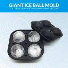 Load image into Gallery viewer, 2.5 Inch Giant Ice Ball Mold - Makes Large Sphere Ice Mold Tray Round Ice Cubes Tray for Massive Sized Whiskey Ice Balls or Make Hot Chocolate Bombs