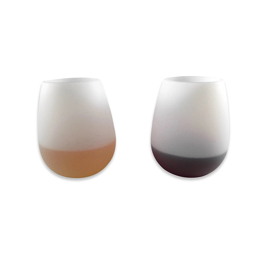 Sillicone Wine Glasses (Set of 2) Champagne Beer Bar Party Cups - Flexible Glasses, Stemless Drinking Cups Shatterproof Drinkware