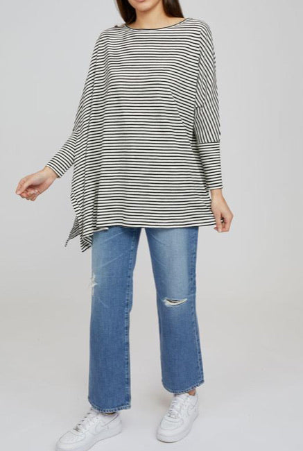 Porter Black/White Stripe Top