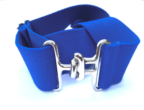 Thin Royal Blue + Silver Elastic Belt