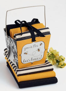 Bees Knees Kitchen Towel Take-Out Box Gift Set