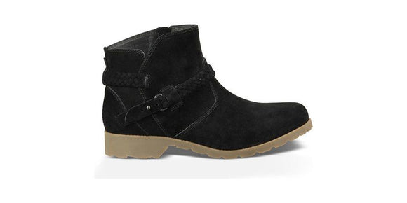 NEW Teva Delavina Womens Suede Ankle Boots Black