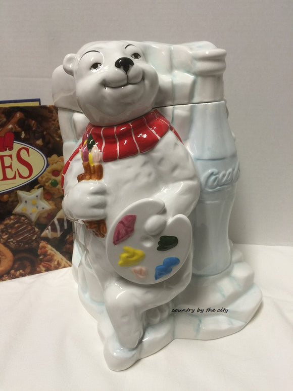 Coca Cola Work of Art Cookie Jar in White