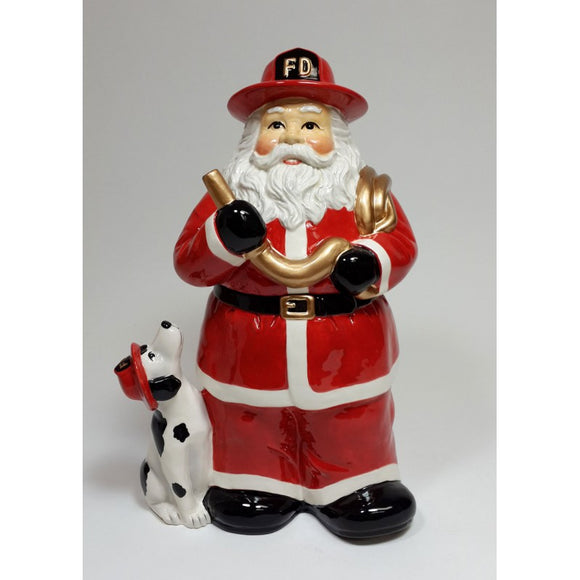 Christmas Holiday FireFighter Santa Cookie Jar