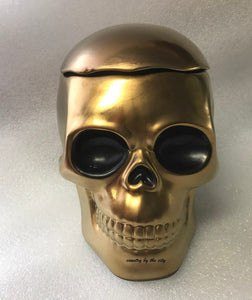 Gold Skull Cookie Jar