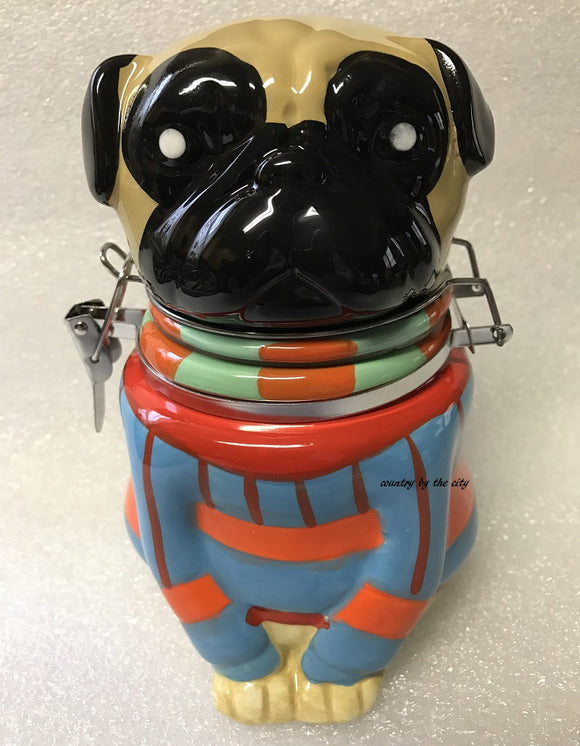 Pugly Dog Sweater Hinged Treat Jar
