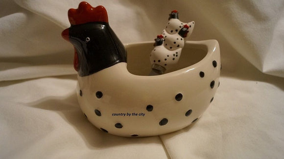 Rooster Dip Bowl & Matching Cheese Spreader Set