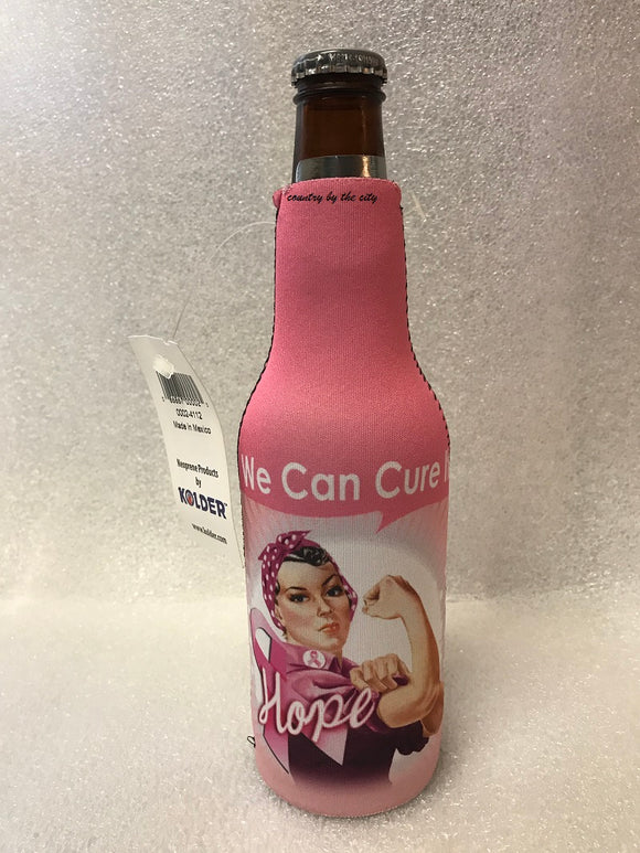 We Can Cure It Breast Cancer Awareness Bottle Coolie