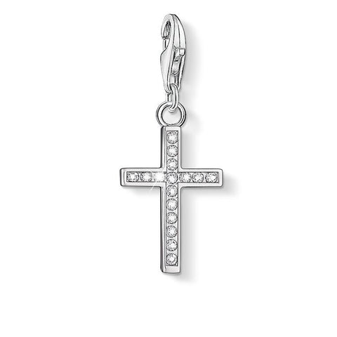 STERLING SILVER C/CLUB CZ CROSS CHARM