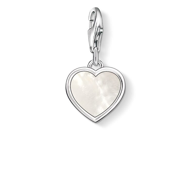 STERLING SILVER C/CLUB MOTHER-OF-PEARL HEART CHARM
