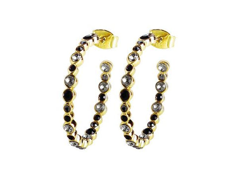 NANDITA SHINY GOLD BLACK EARRINGS