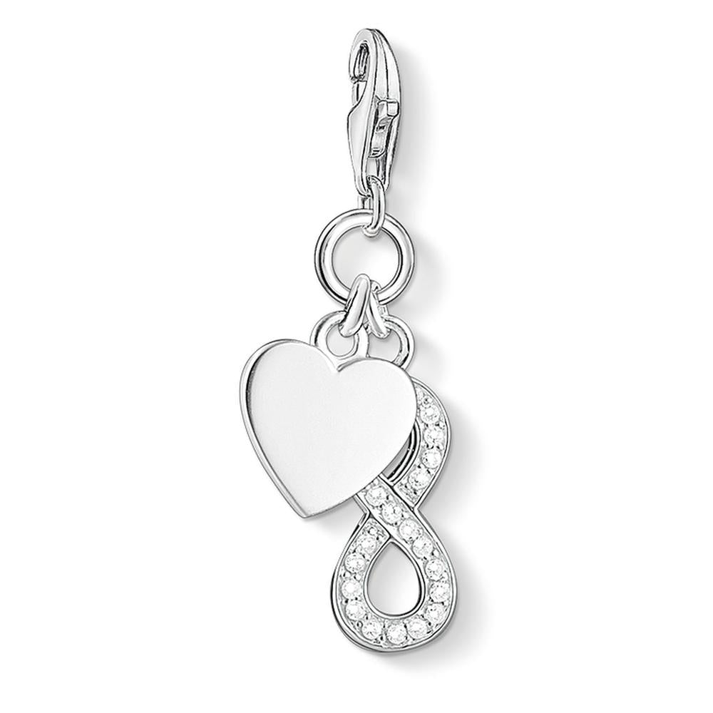 STERLING SILVER C/CLUB HEART WITH INFINITY CHARM