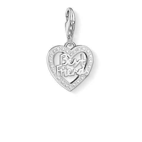 STERLING SILVER C/CLUB 'BEST FRIENDS' CZ HEART CHARM