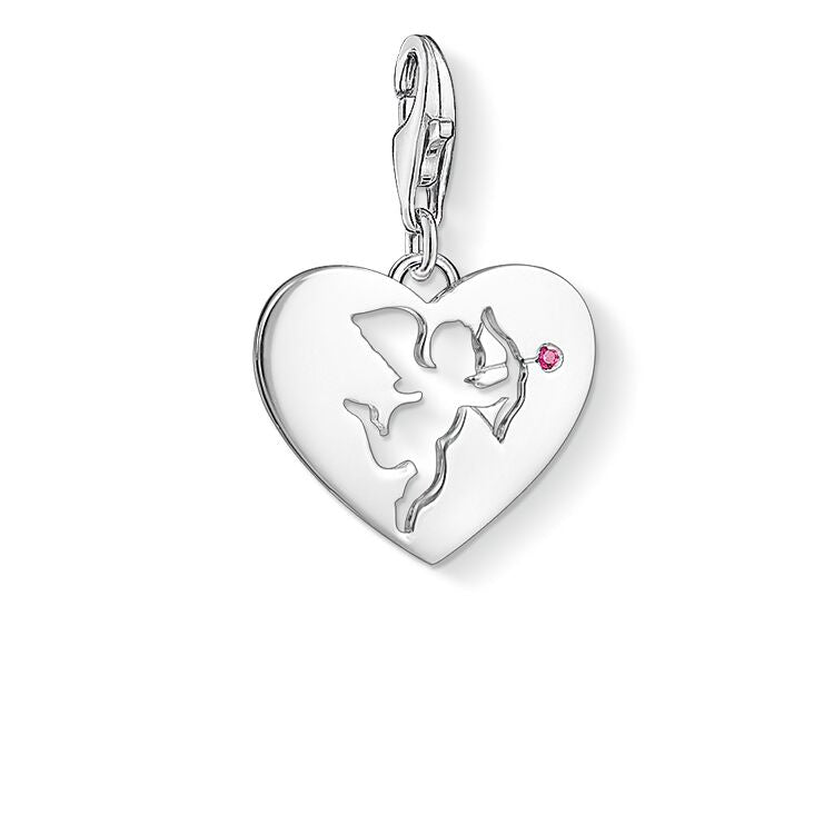 STERLING SILVER C/CLUB HEART WITH CUPID CHARM