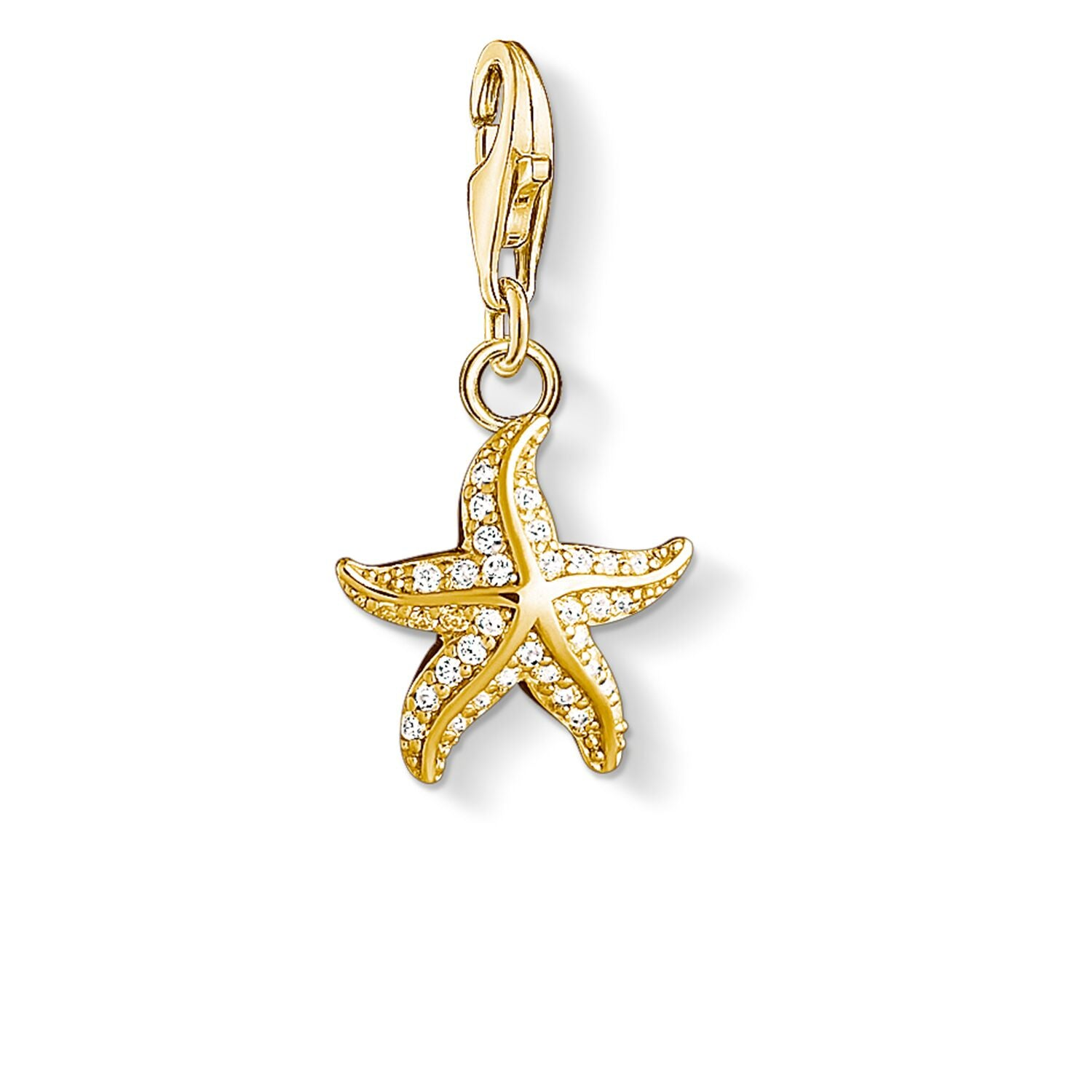 STERLING SILVER YELLOW GOLD PLATED C/CLUB STARFISH CZ CHARM