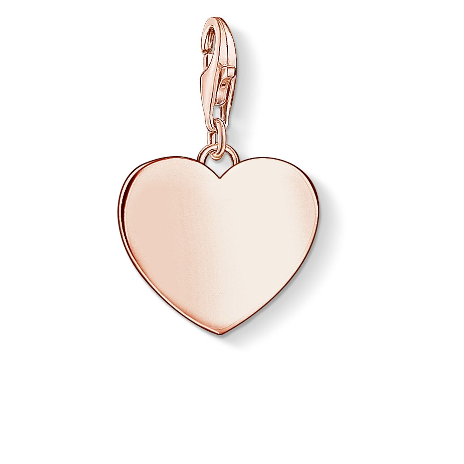 STERLING SILVER ROSE GOLD PLATED C/CLUB ENGRAVABLE HEART CHARM
